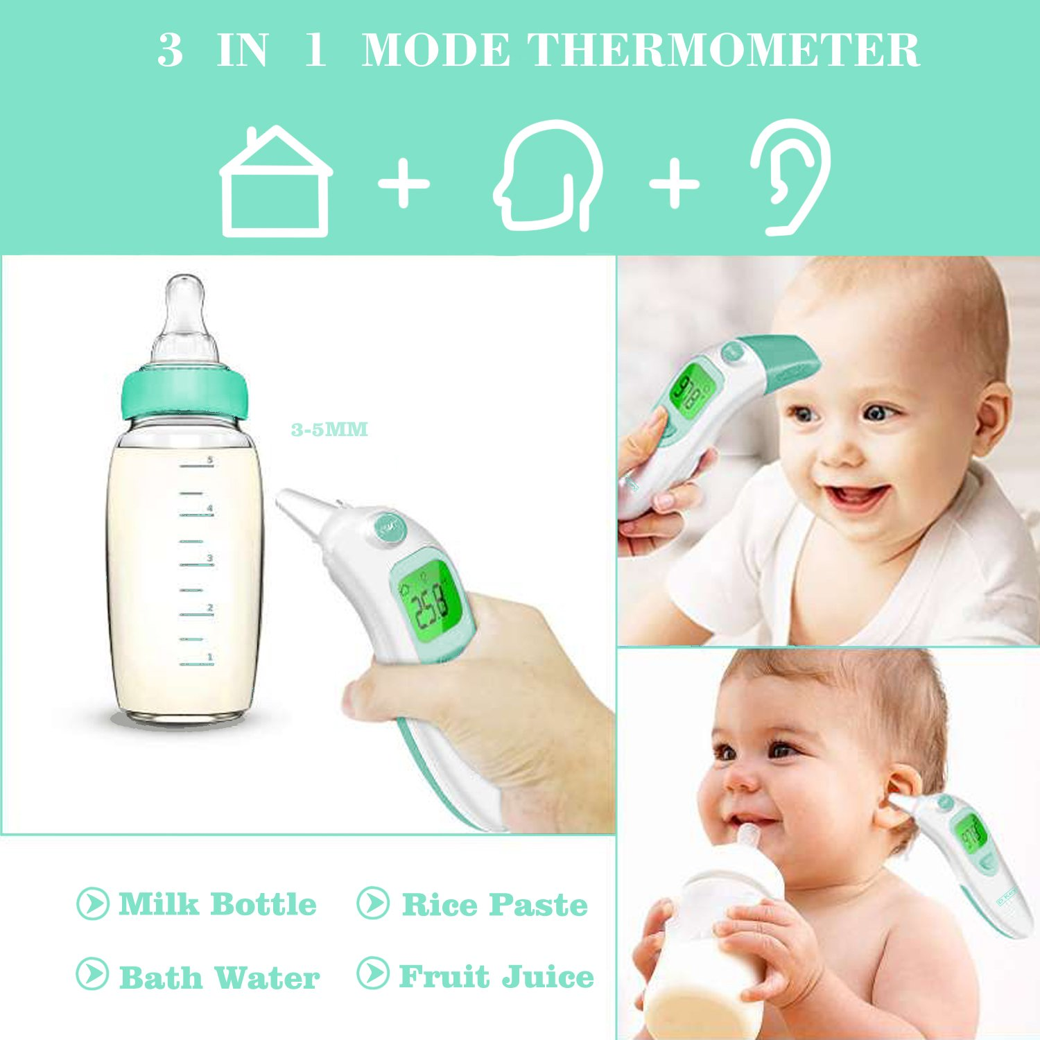 Baby Thermometer Infrared Digital Thermometer//Most Accurate Thermometer for Kids /& Women /& Object Forehead and Ear Thermometer with Instant Read and Fever Indicator BBT Thermometer for Women