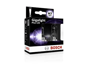 Bosch 1987301107 Gigalight Plus 120 H7 Halogen Bulb For Passenger Cars 12v 55w Px26d 2 Bulbs Amazon In Car Motorbike