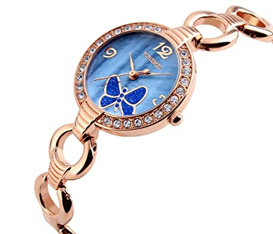 Luxury Casual Sports Bracelet Women Butterfly Crystal Diamond Dial Alloy Waterproof Girls Quartz Watch (Blue