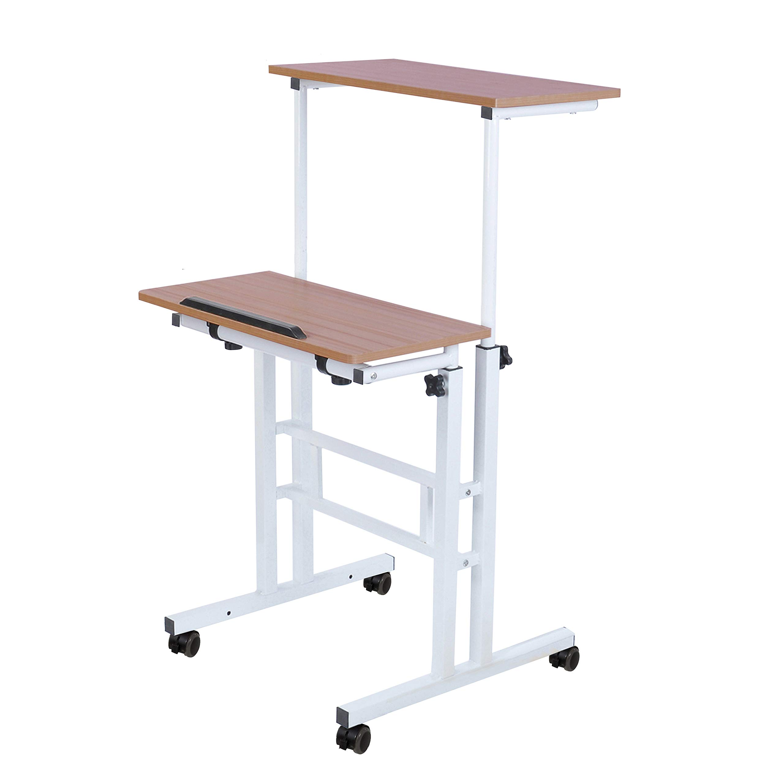 SDADI 2 Inches Carpet Wheel Mobile Standing Desk Stand Up Desk Height Adjustable Home Office Desk with Standing and Seating 2 Modes 3.0 Edition, Dark Grain