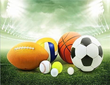 AOFOTO 10x8ft Sports Balls In Stadium Backdrop Basketball Football Soccer Baseball Tennis Golf Volleyball Photography Background
