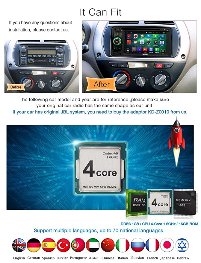 Pumpkin 62 Inch Quad Core Android 44 Double Din In Dash HD 800x480 Capacitive Touch Screen Car DVD Player GPS Navigation AM FM Radio For Toyota RAV4