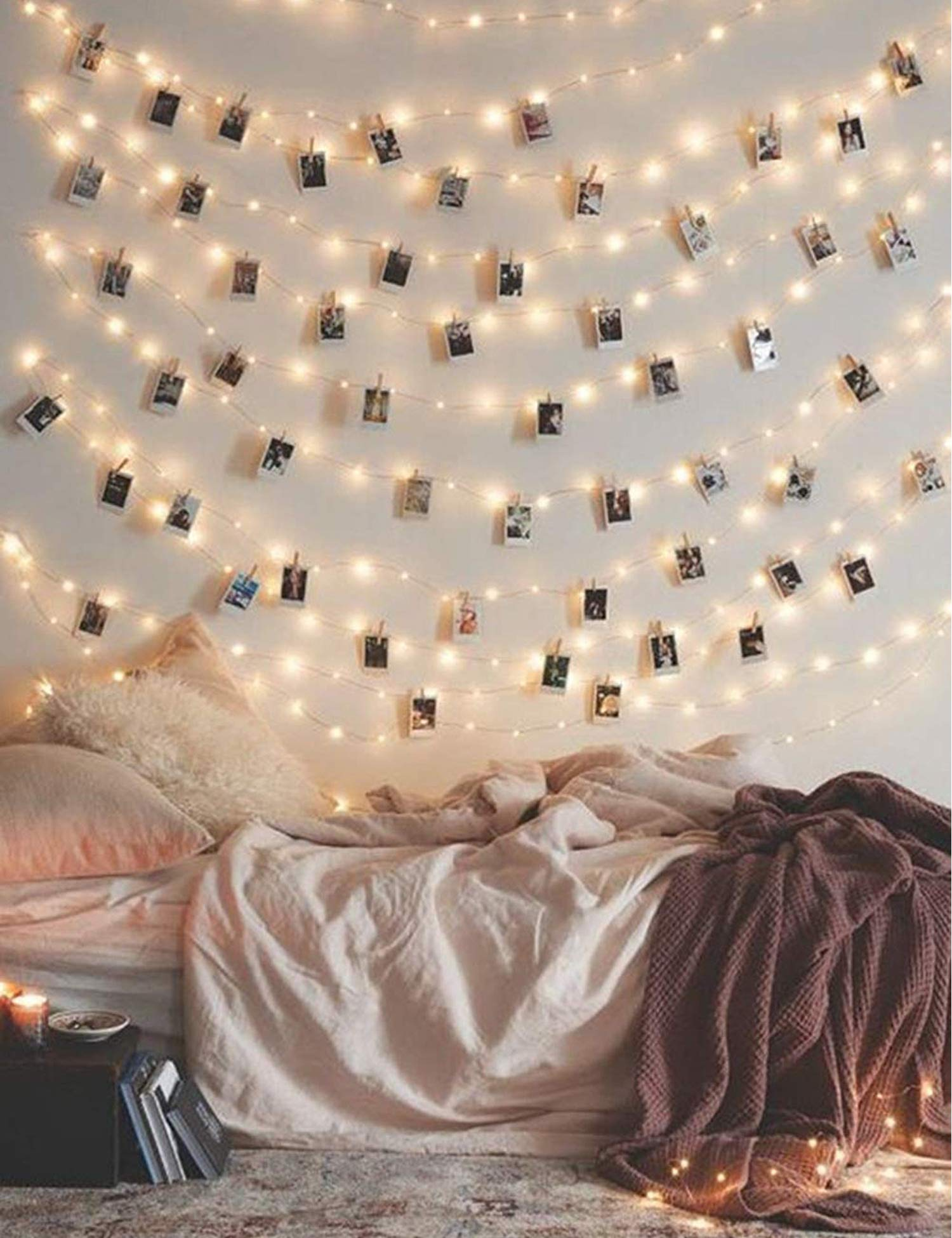 Photo Clip String Lights 33Ft - 100 LED Fairy String Lights with 50 Clear Clips for Hanging Pictures, Photo String Lights with Clips USB Powered with Switch - Perfect Bedroom Decor Wedding Decorations