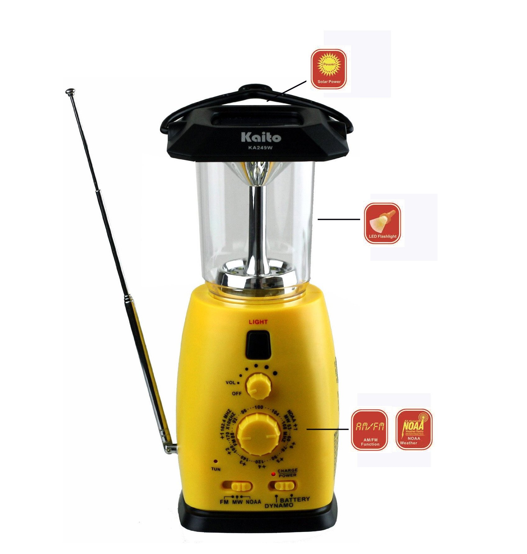 Kaito KA249W Multi-Functional 4-Way Powered LED Camping Lantern with AM/FM NOAA Weather Radio & Cell Phone Charger