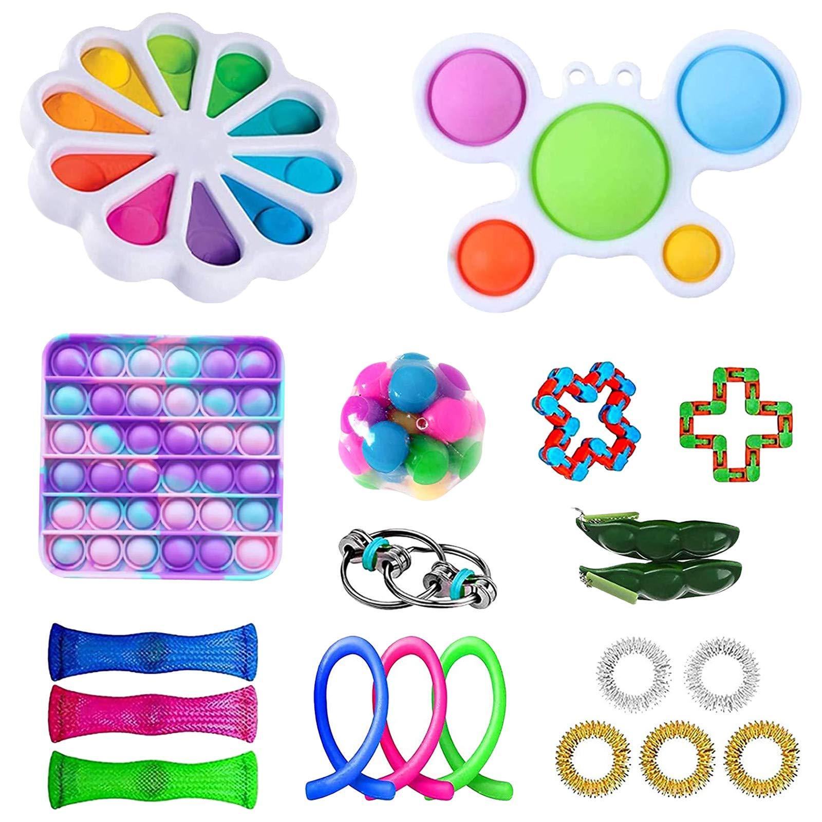 30Pcs TIK Tok Fidget Toys Pack, Fidget Pack Sensory Relieves Stress Anxiety for Kids Adults,Marble Mesh Push Pop Bubble Fidget Sensory Toy,Autism Stress Reliever Stress Reliever Toy (Toy Sey A2)