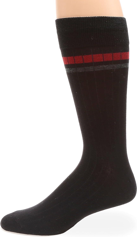 MIRMARU Mens Classic Cotton Blend Fashion Patterned Casual Dress Crew Socks