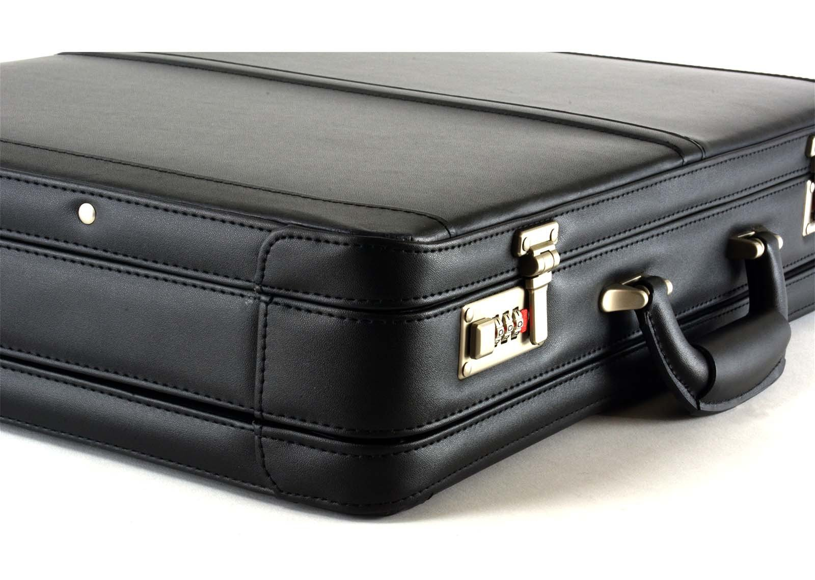Alpine Swiss Expandable Leather Attache Briefcase Dual Combination Locks 1 Year Warranty by alpine swiss (Image #5)