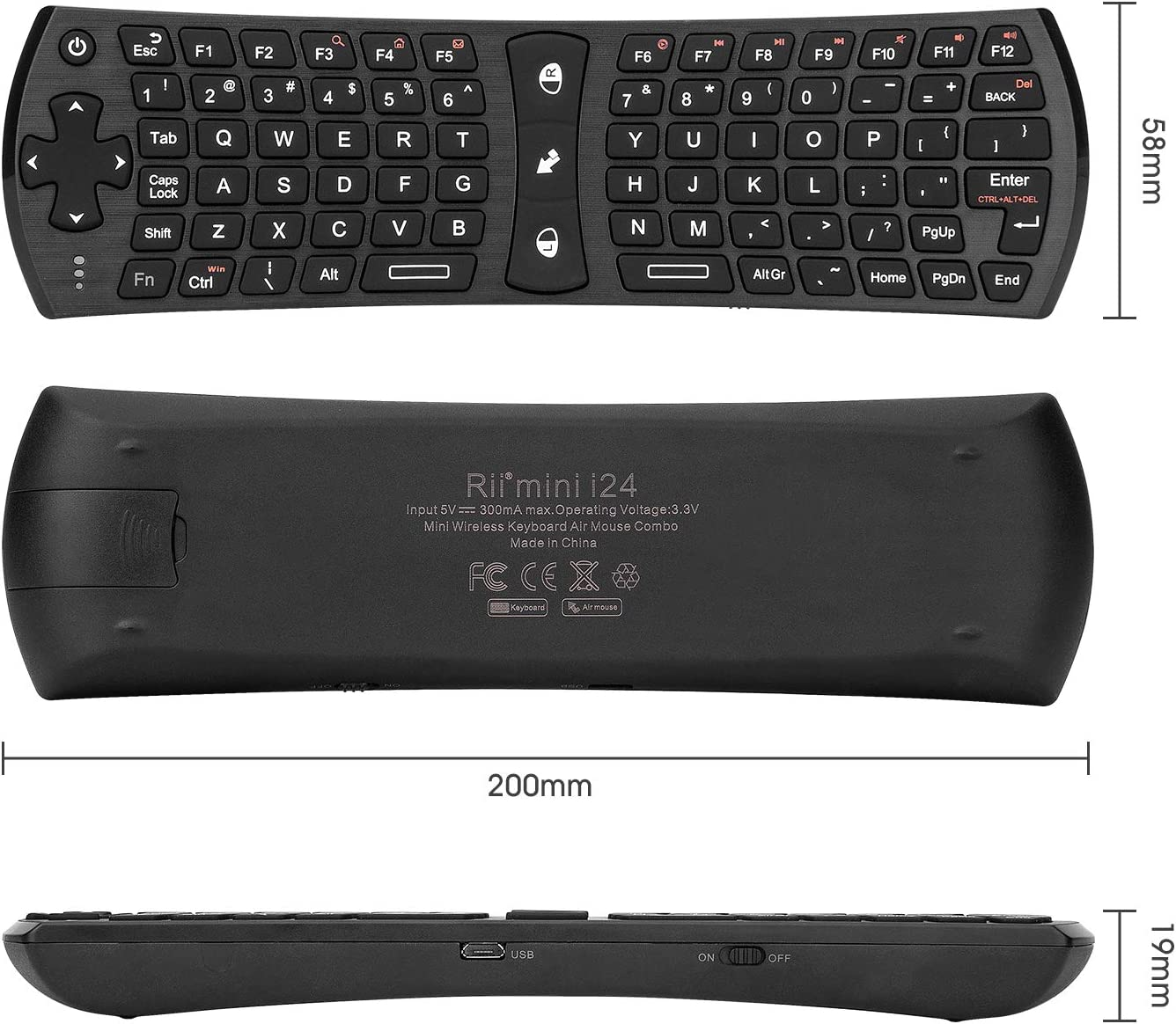 Xbox360 Computer Accessories Rii i7 Mini Wireless Air Mouse Keyboard Remote for HTPC//Android TV Box