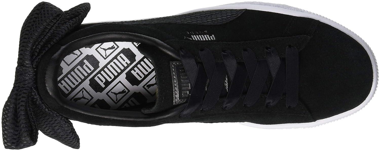 Dettagli su Sneakers Puma Suede Heart nere tg 40 donna con fiocco nuove