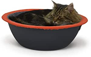 Hepper - Nest Cat Bed - Modern Cat Furniture - Cat Bowl with Removable & Washable Fleece Liner - Grey/Orange