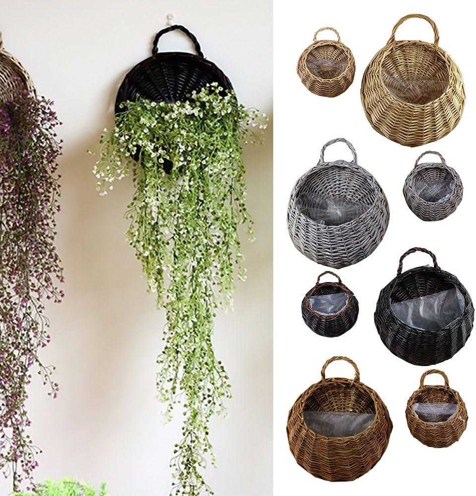 TwinkBling Rattan-Blumenkorb zur Wandmontage