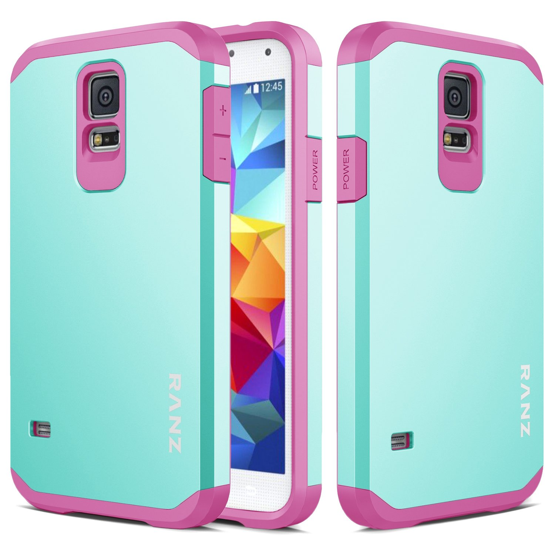 promo code cb020 747c3 Galaxy S5 Mini Case, RANZ Hot Pink with Aqua Blue Hard Impact Dual Layer  Shockproof Bumper Case for Samsung Galaxy S5 Mini(SM-G800)