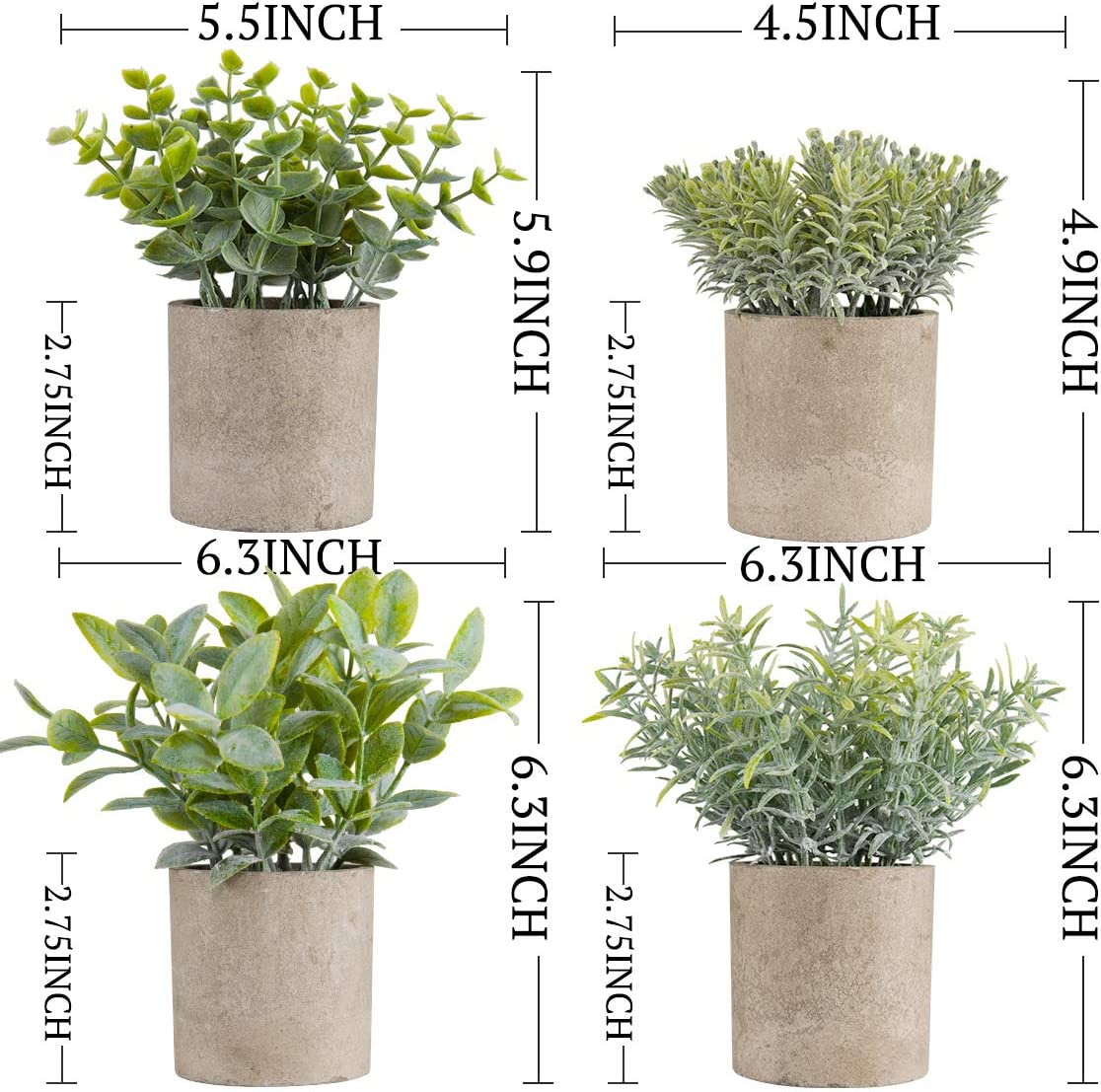 Indoor /& Outdoor,Set of 4 Miracliy Mini Potted Fake Plants Faux Artificial Eucalyptus Boxwood Rosemary Greenery in Gray Pots for Home Office Desk Bathroom Decoration Garden Decor