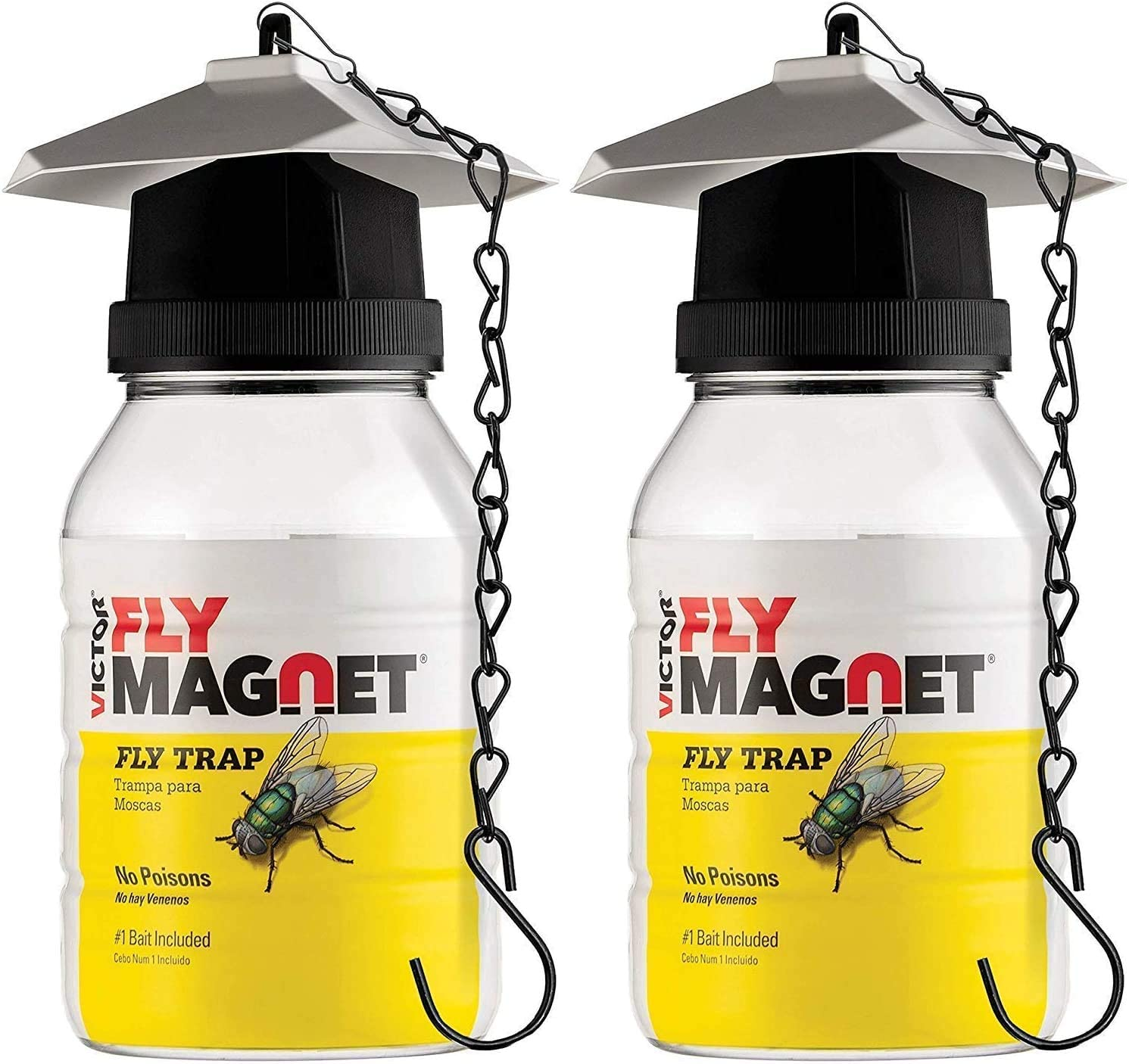 SEWANTA Victor M380 [Set of 2] Reusable Outdoor Fly Traps 32 oz - Fly Magnet Bait Trap - Made in USA - Bundled with 2 Bait Refills and 2 Hanging Chains