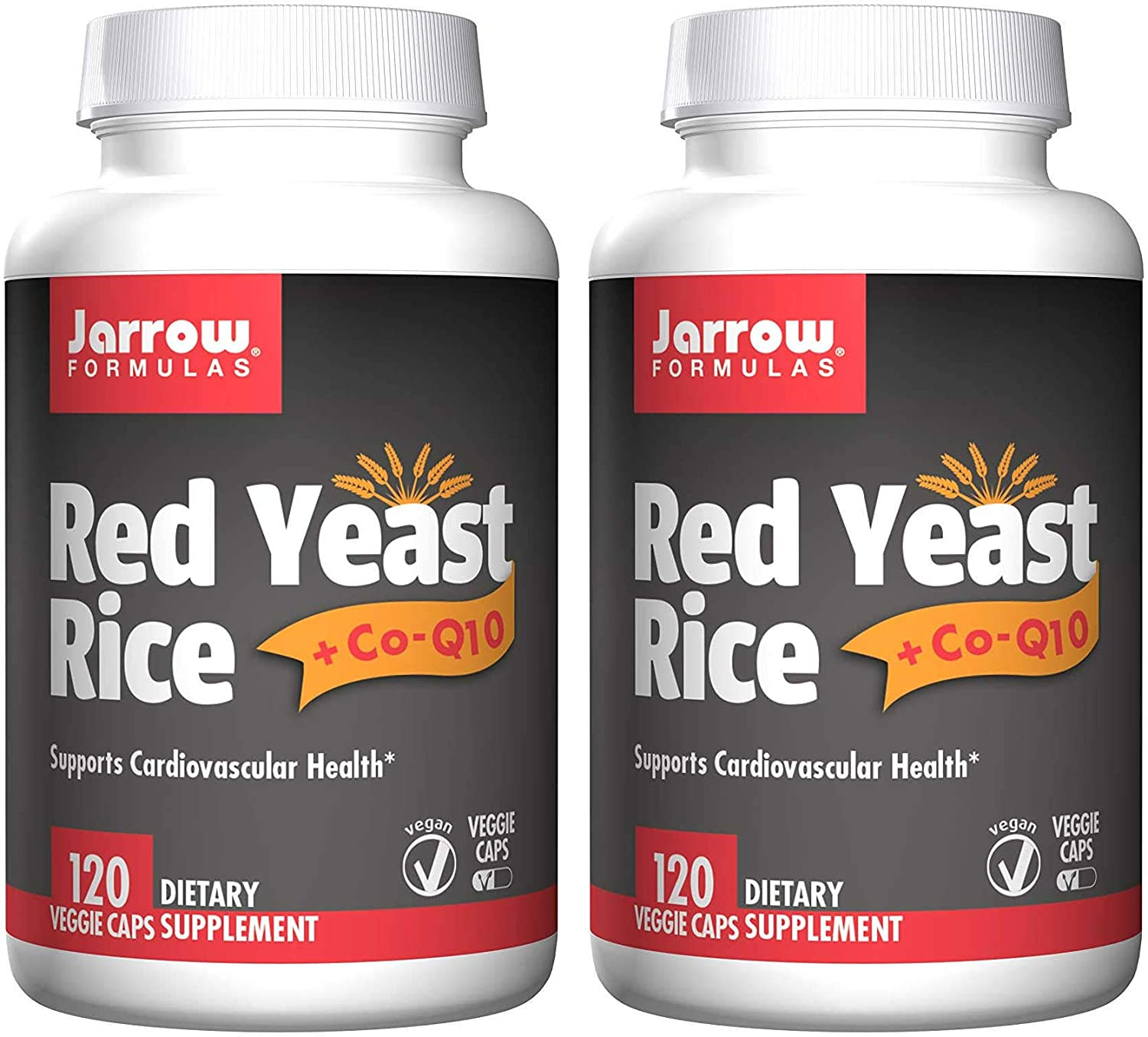 Jarrow Formulas Red Yeast Rice + CoQ10 Supports Cardiovascular Health Dietary Supplement - 120 Veggie Caps (Pack of 2)