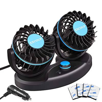 12V Car Fan with Stepless Speed Mini Fan Dashboard Air Fan Low Noise 180 Degree Rotatable for Truck Vehicle Boat: Automotive
