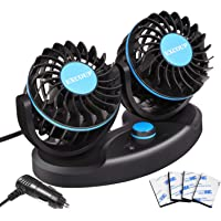 $24 » EXCOUP 12V Car Fan with Stepless Speed Mini Fan Dashboard Air Fan Low Noise 180 Degree…