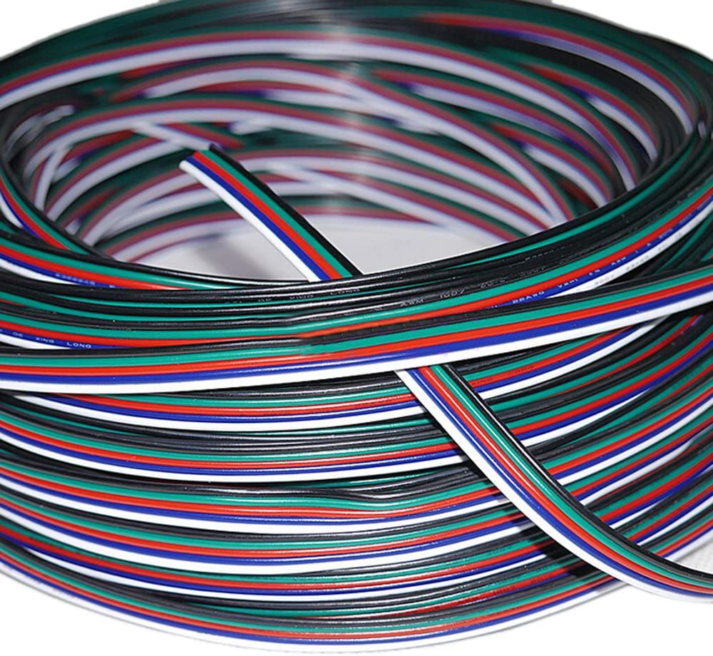 HKBAYI 100 meters 5Pin 5 Channels Extension Electric Wire Cable Led Connector For RGBW 5050 3528 LED Stirp Light 22 AWG