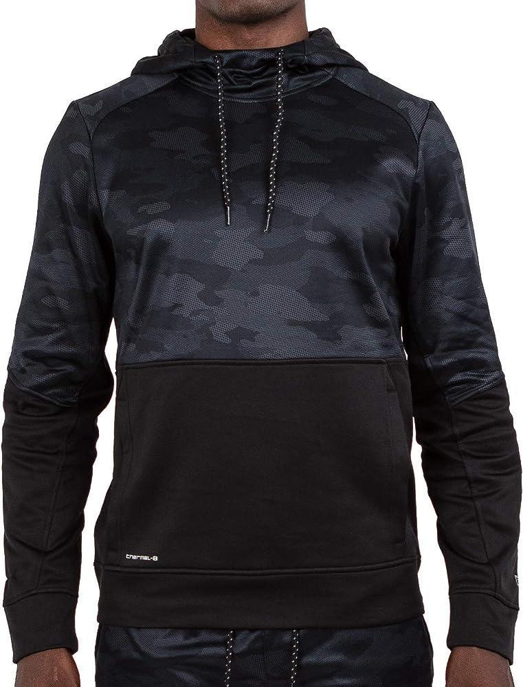 97b34994 Layer 8 Men's Performance Sport Tech Fleece Athletic Hoodie (Small, Black  Geo Combo Print