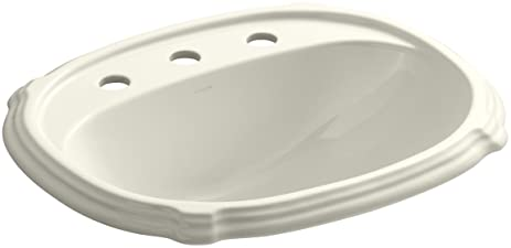 KOHLER K 2189 8 96 Portrait Self Rimming Bathroom Sink, Biscuit
