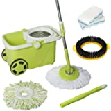 Senmo Ergonomic 360 Swivel Spin Mop, Stainless Steel Spin Floor Mop and Bucket Floor Cleaning System, Telescoping Mop Pole, 2 Microfiber Mop Heads, 1 Brush Disc, [Gift] 2 Scrub Sponges Included