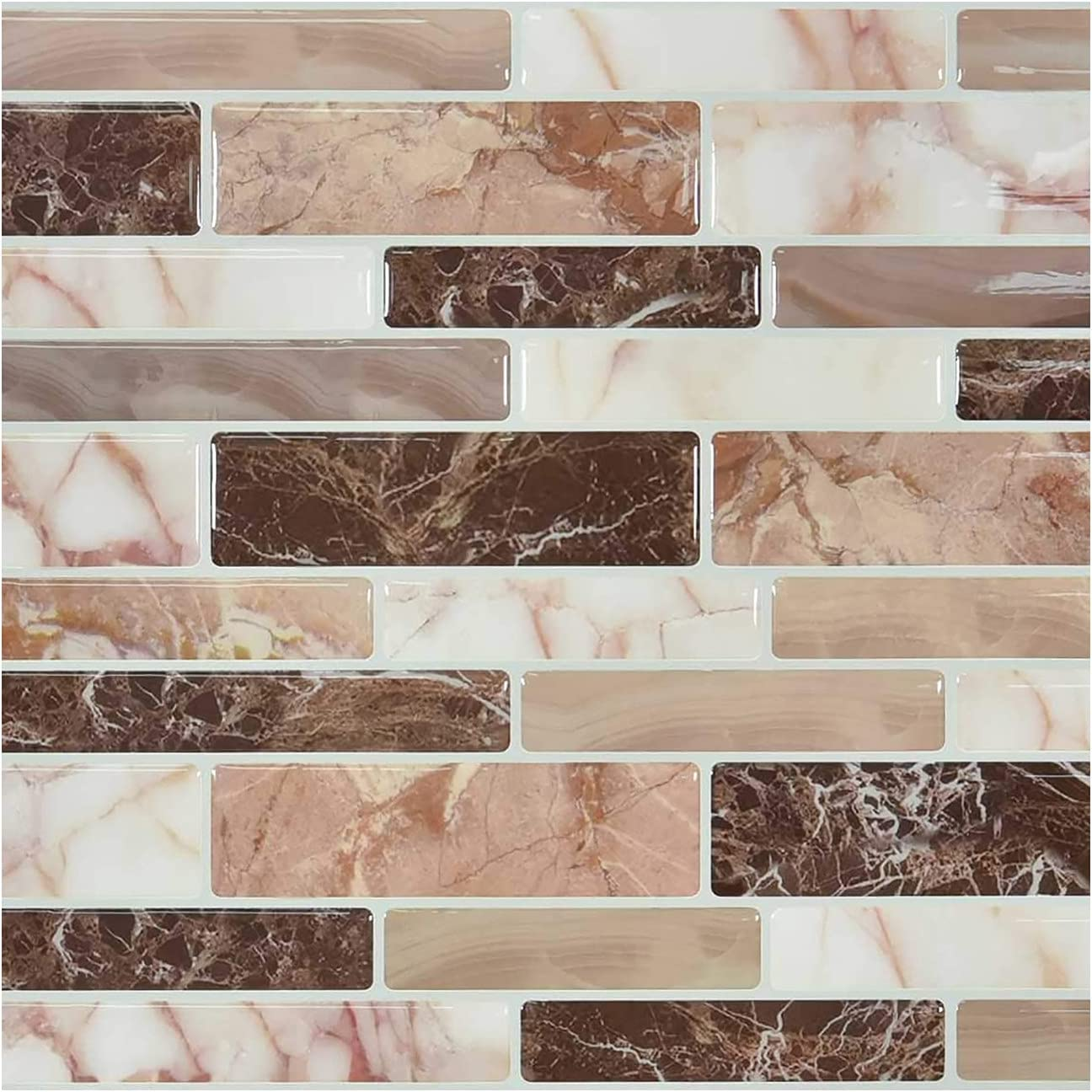 10-Sheet 3D Mosaic Peel and Stick Tile Backsplash, 3.94 X 3.94 inches ( 10 X 10 cm) Tile Stickers, Self Adhesive Decorative Sticker Wall Home Decor, Removable Wallpaper for Kitchen Bathroom (22)