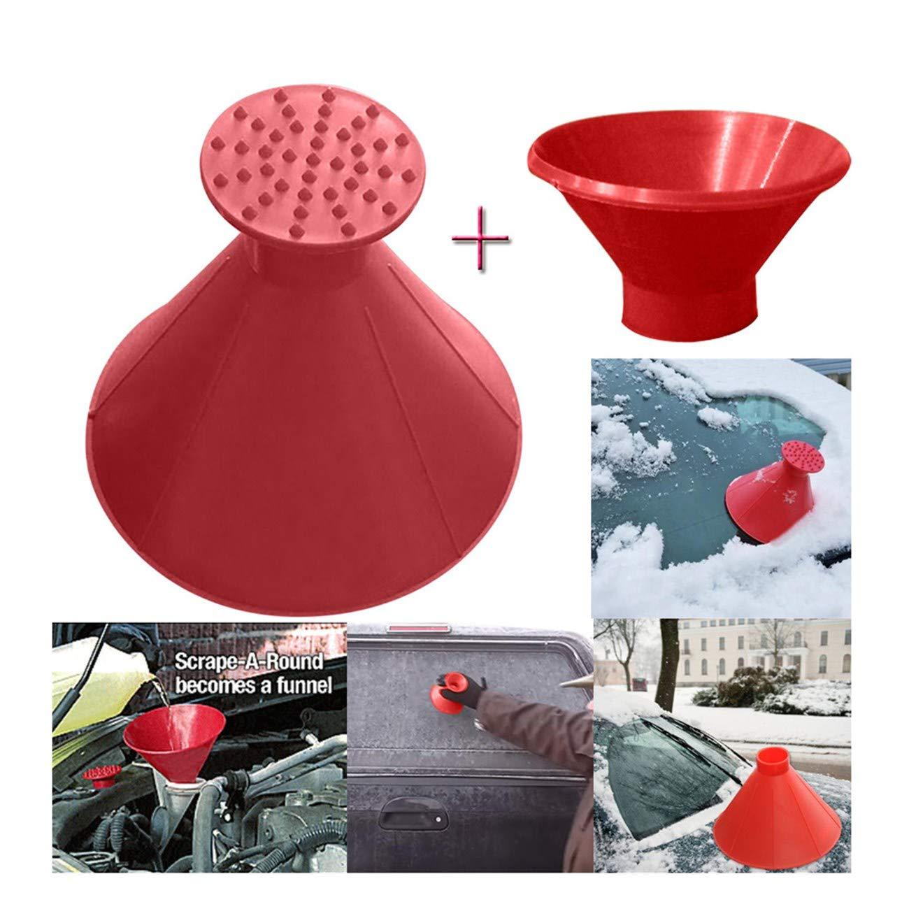 Magic Car Scrape A Round Ice Scraper for Car Cone-Shaped Windshield Bulk Ice Scraper Car Snow Removal Shovel Tool (14.5cm, Red)