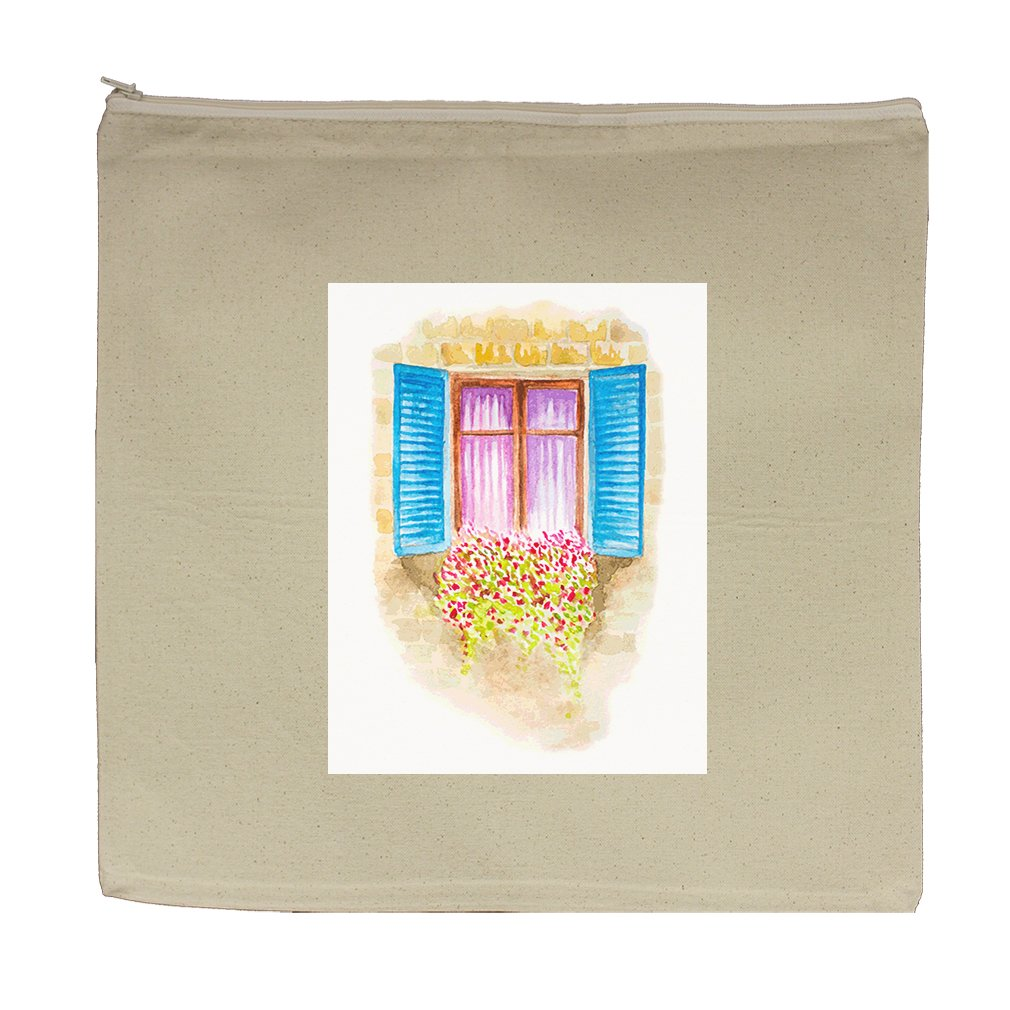 Canvas Zipper Pouch Tote Bag 5.5''X7.5'' Watercolor Vintage Window With Flowers