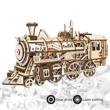 ROKR Laser Cutting 3D Wooden Puzzle - Locomotive Craft Wooden Model kits,  Self-Assembly Mechanical Model - Brain Teaser Game, Christmas Birthday  Gifts
