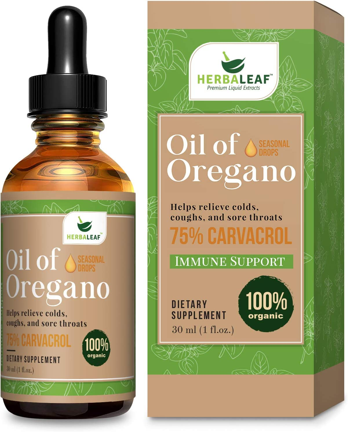 HerbaLeaf Oil of Oregano Immune Defense, Helps Relieve Colds, Coughs, Sore Throats- Gut Support. (1 Fl Oz)