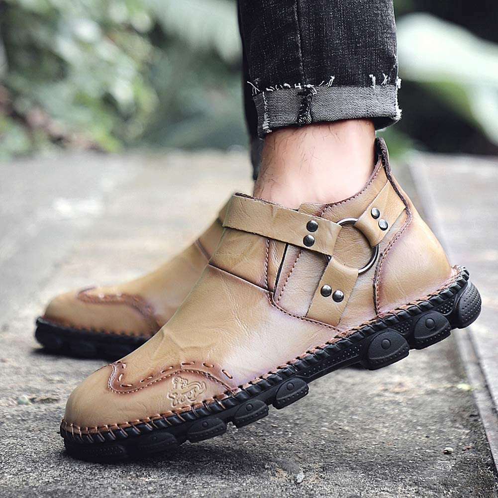 Honeystore Mens Slip-on Booties Chelsea Martin Boots Low-top Leather Shoes