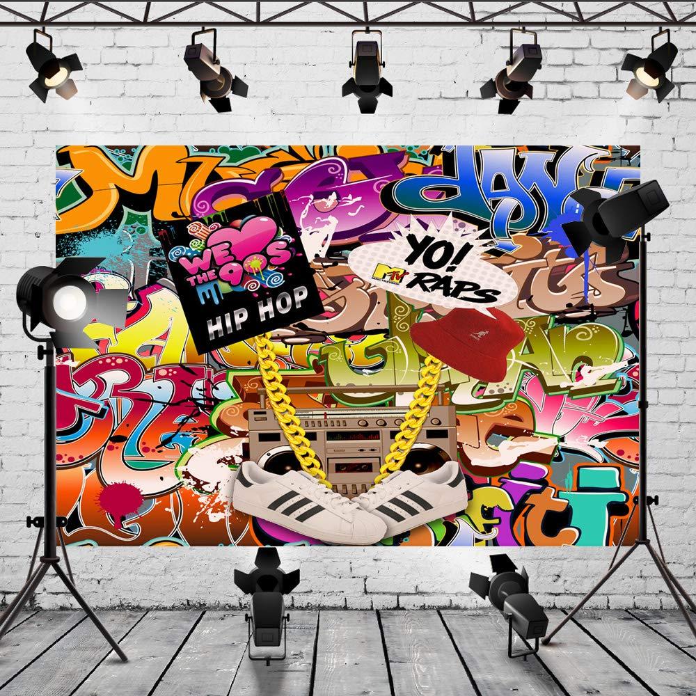 Mehofoto 90s Telón de fondo 7x5ft Hip Hop Decoración de fiesta de cumpleaños Banner Foto Telones de fondo Fondo de fotografía de pared de graffiti