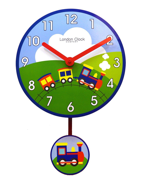 Nursery railway train design childrens bedroom wall clock with nursery railway train design childrens bedroom wall clock with pendulum by london clock company amazon kitchen home amipublicfo Gallery