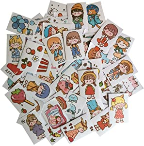 Washi Paper Stickers Set Kawaii Girl Fruit Drink Ice Cream Food Cute Animal Cat Duck Chick Whale Adhesive Sticker for Scrapbooking Travel Journal Diary Calendar Letter Bottle Cup Gift Wrapping