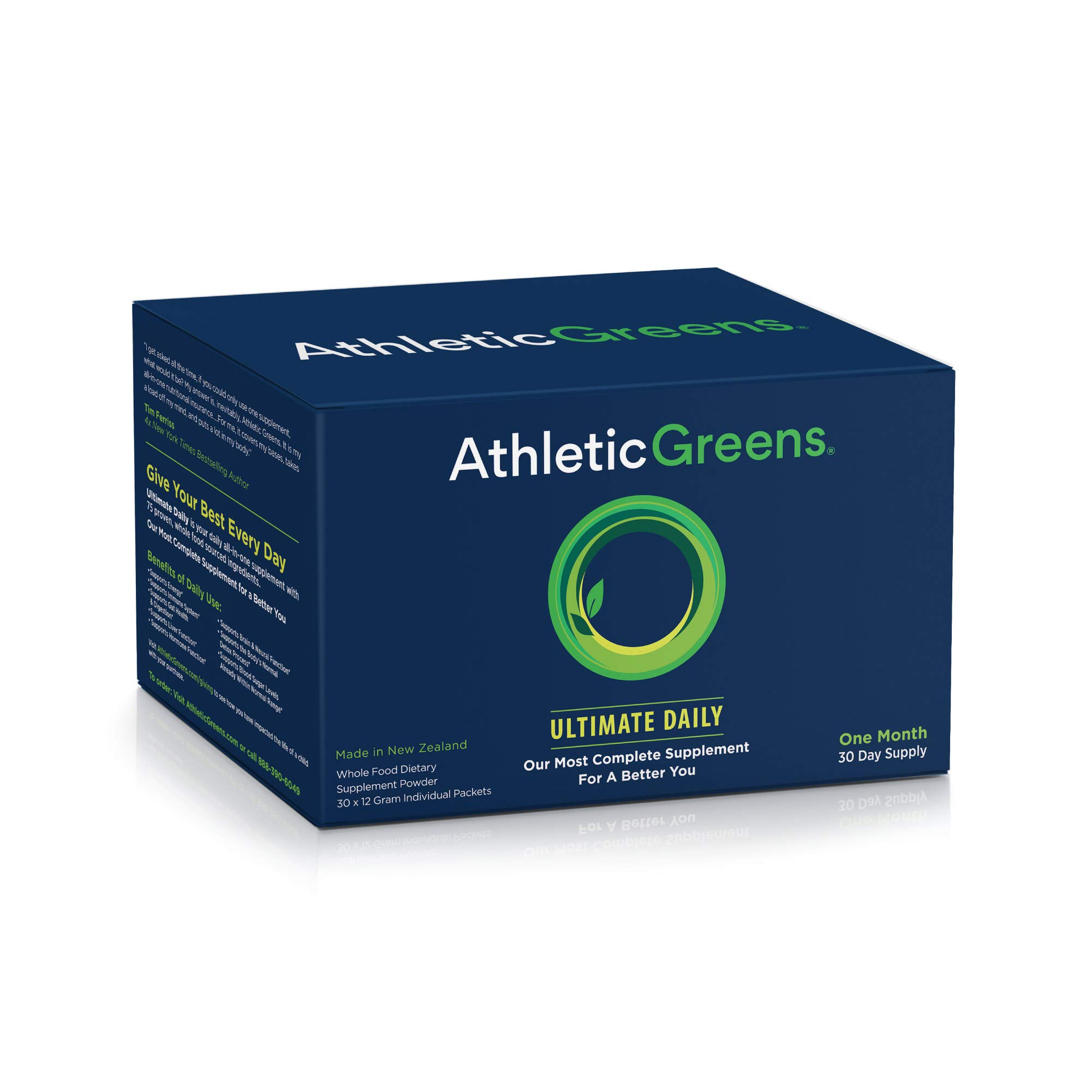 Athletic Greens Ultimate Daily, Whole Food Sourced All in One Greens Supplement, Superfood Powder, Gluten Free, Vegan and Keto Friendly, 30 Individual Travel Packs by Athletic Greens