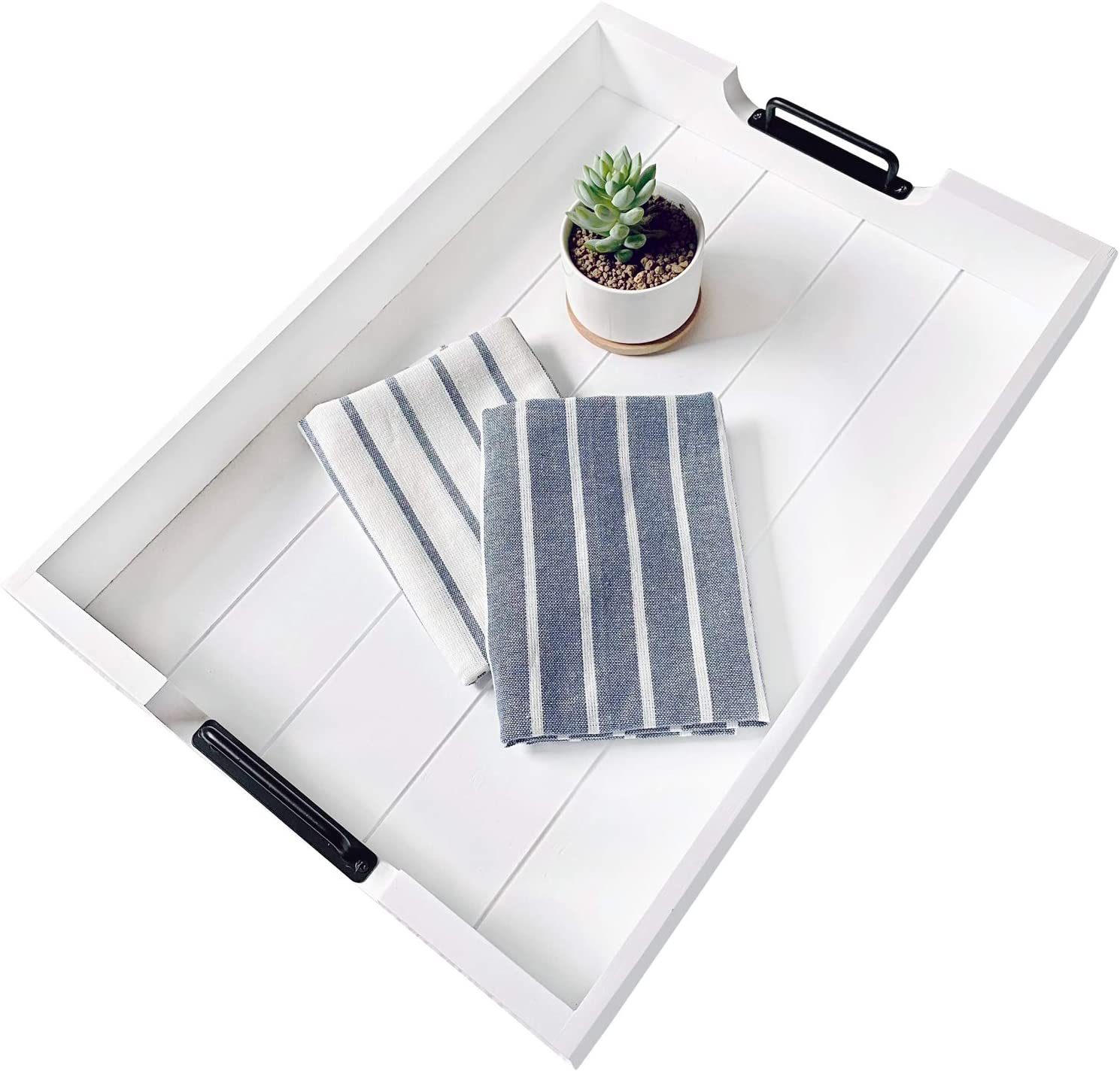 Large 20 x 14 Wood Serving Tray with Handles. Coffee Table Tray. Decorative Tray with Waterproof Paint for Ottoman, Breakfast, Dinner, Centerpieces for Tables, Farmhouse Decor, Wooden White Tray