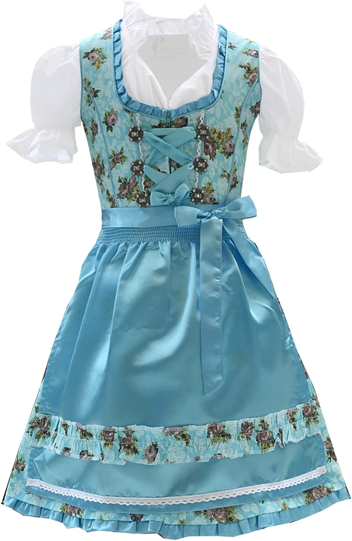 Trachtenkleid 3tlg Kinder Dirndl M/ädchen Kleid Gr 104,116,128,140,146,152