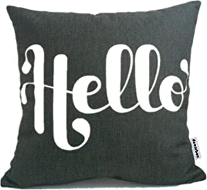 Decorbox Cotton Linen Square Fashion Throw Pillow Case Shell Decorative Cushion Cover Pillowcase Black White Hello 18