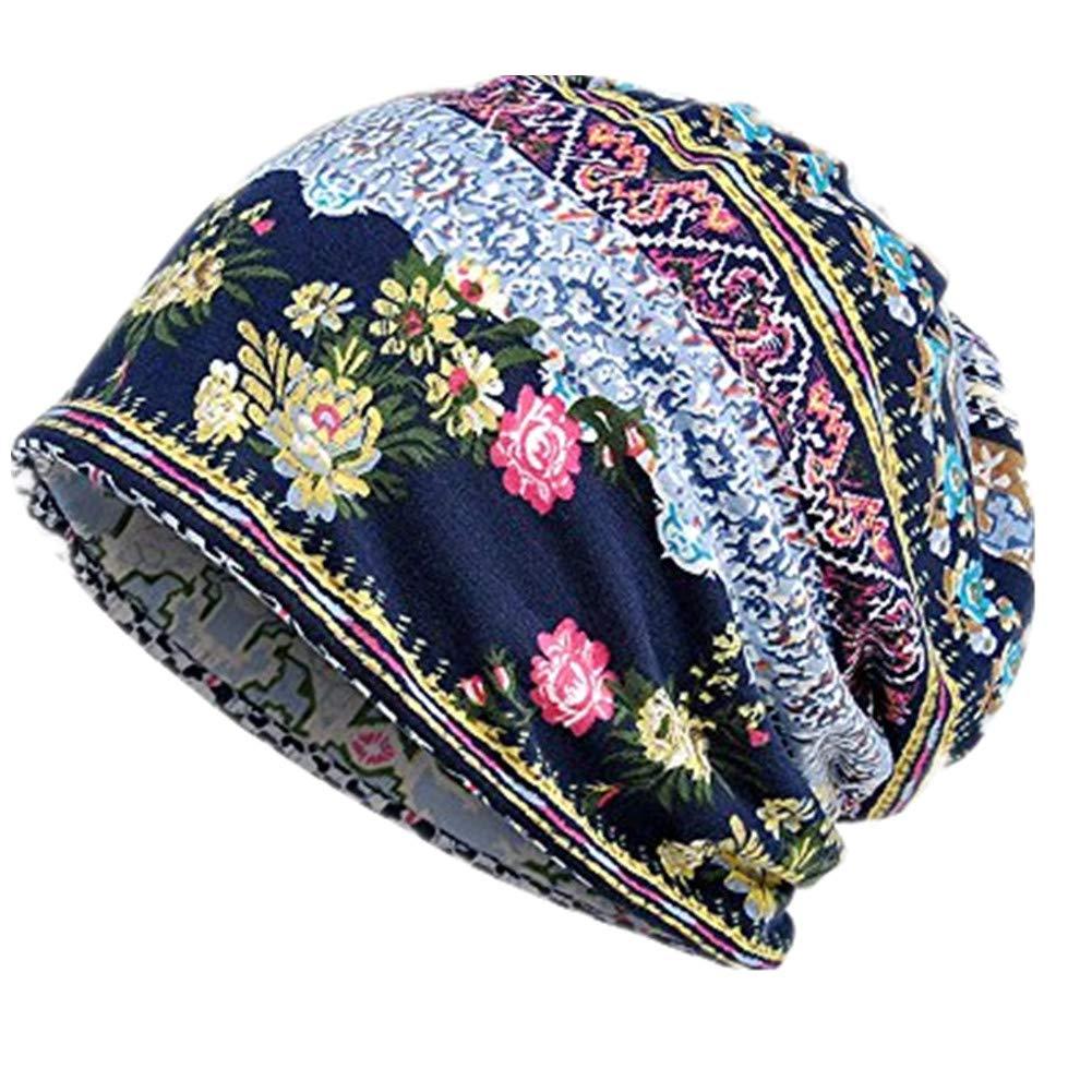 iHENGH Bequem L/ässig Mode Unisex Print Hut Ruffle Cancer Hat M/ütze Schal Kragen Turban Head Wrap Cap