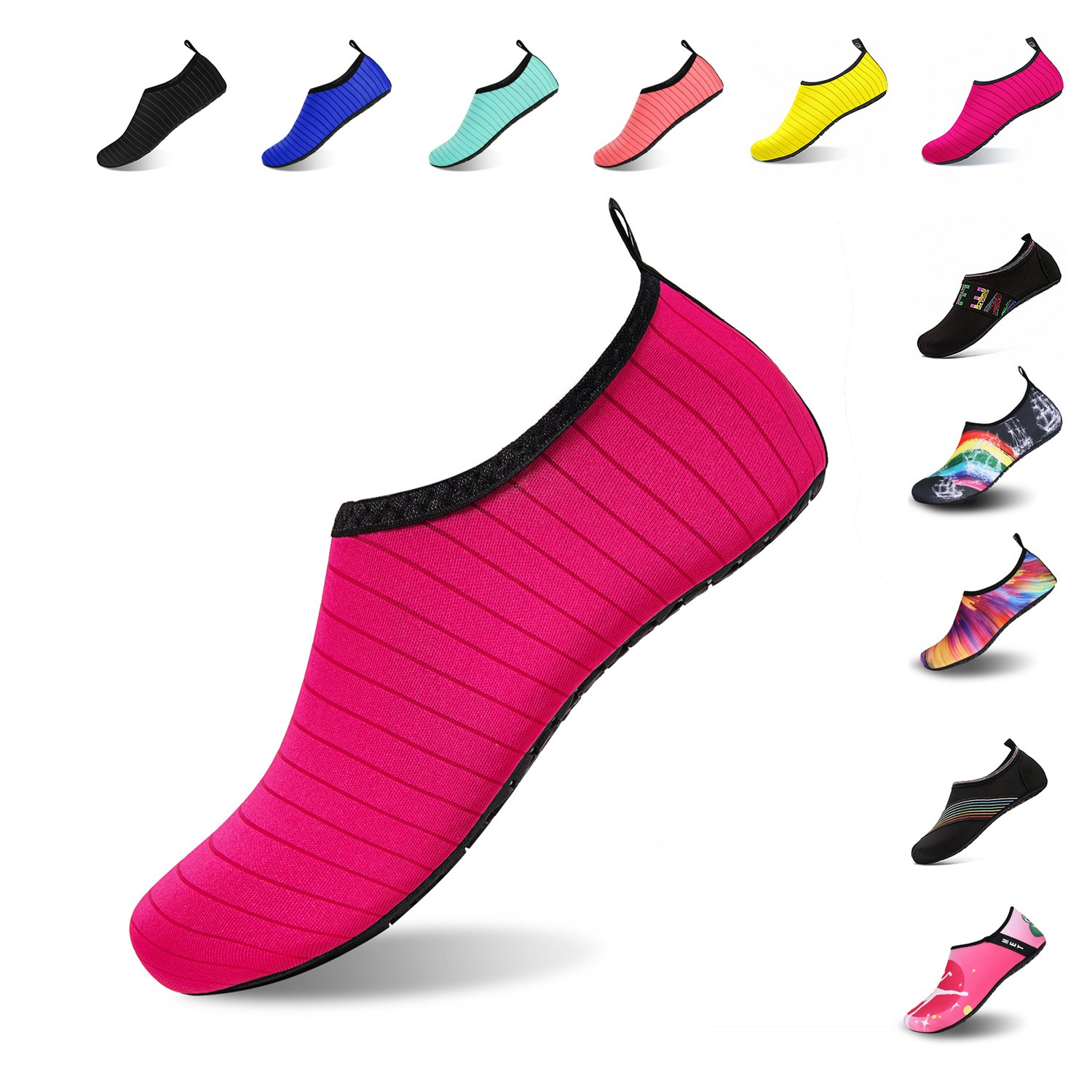 Mens Womens Water Shoes Barefoot Beach Pool Shoes Quick-Dry Aqua Yoga Socks for Surf Swim Water Sport (Red, 40/41EU)