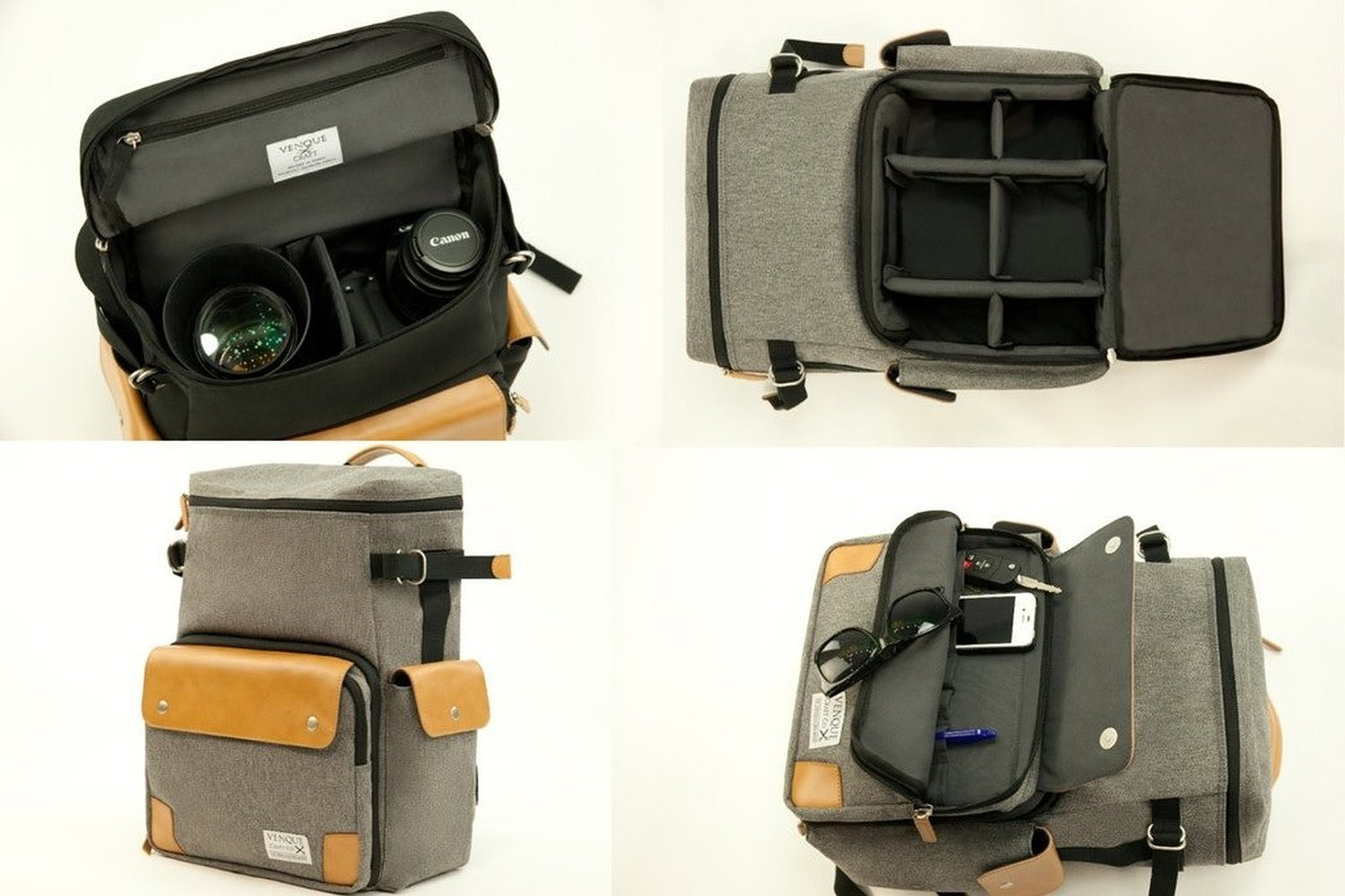 Venque Craft Co. CamPro Camera Backpack (Grey) by Venque Craft Co. (Image #4)