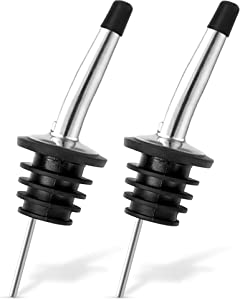 Trovety Liquor Bottle Dispenser Spouts – Classic Speed Pours for Alcohol, Olive Oil and Shave Ice Syrup – Rustproof Stainless Steel with Tapered Pouring Funnels and Dust Caps (2)