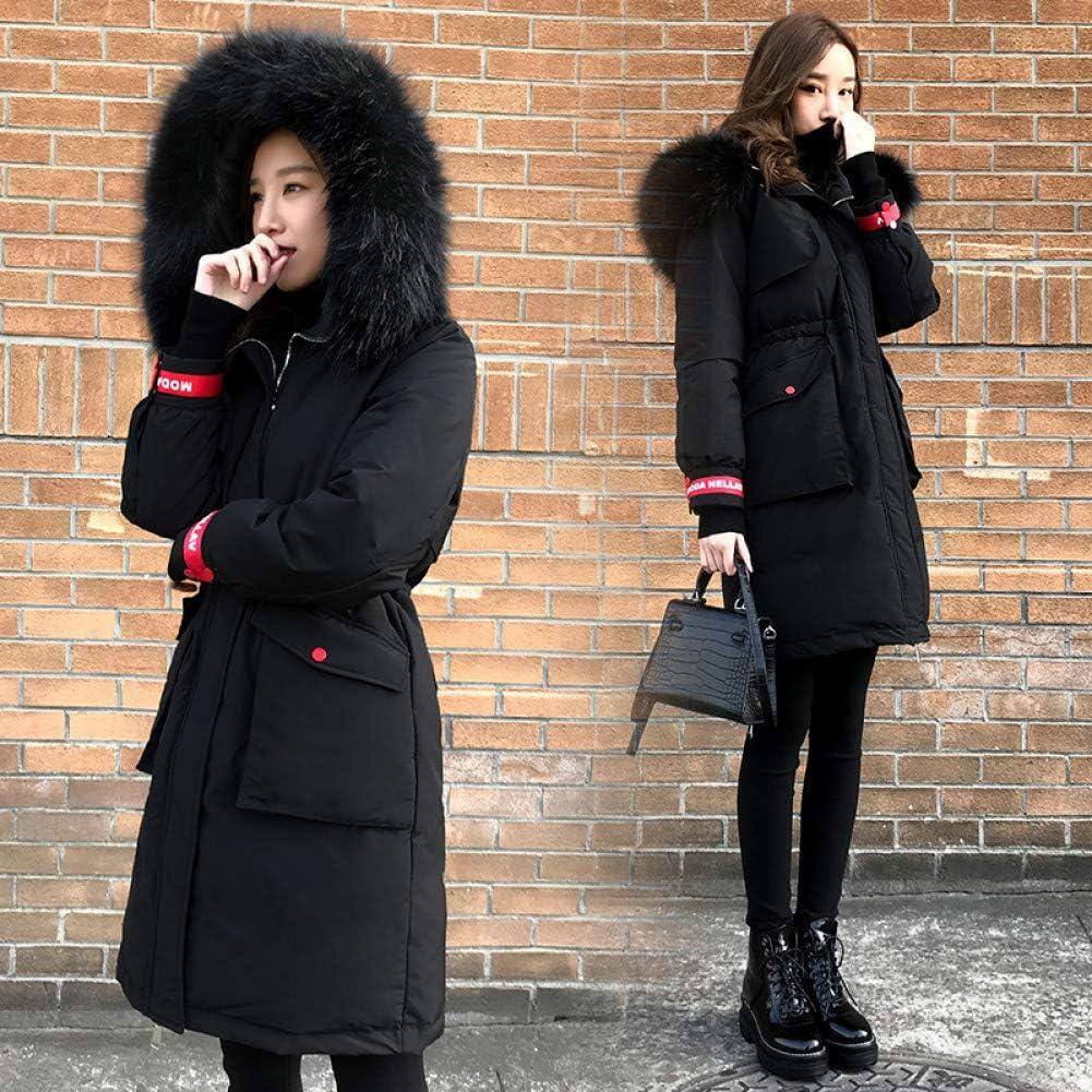 XIAOJIE Donne Cappotto di Cotone Ribbon Design Donne Giacca Invernale Cotone Imbottito Caldo Addensare Grande Collo di Pelliccia Ladies Cappotti Lungo Donna Giacche XL