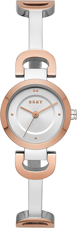 DKNY Reloj de pulsera de cuarzo de acero inoxidable con eslabones de la ciudad para mujer