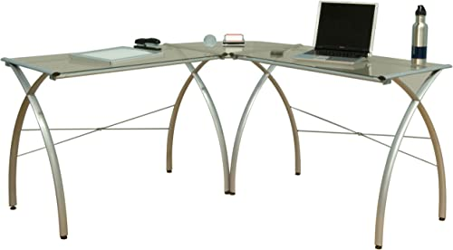 Calico Designs Jameson L-Shaped Computer Work Center with Clear Glass, Silver
