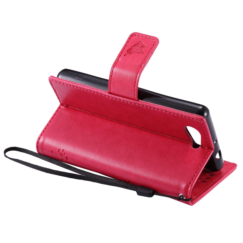 Cozy Hut Sony Xperia Z3 Mini H/ülle Premium Leder Flip Case im Bookstyle Folio Cover Kartenf/ächer Magnetverschluss und Standfunktion Leder Schale Etui f/ür Sony Xperia Z3 Mini Rose Red