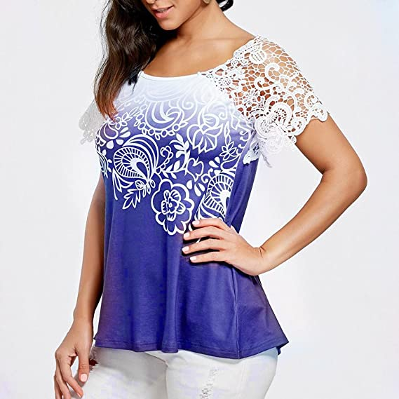 Amazon.com: Blouse for Womens, FORUU Lace Short Sleeve Backless Sexy Printed Tops T Shirts: Clothing