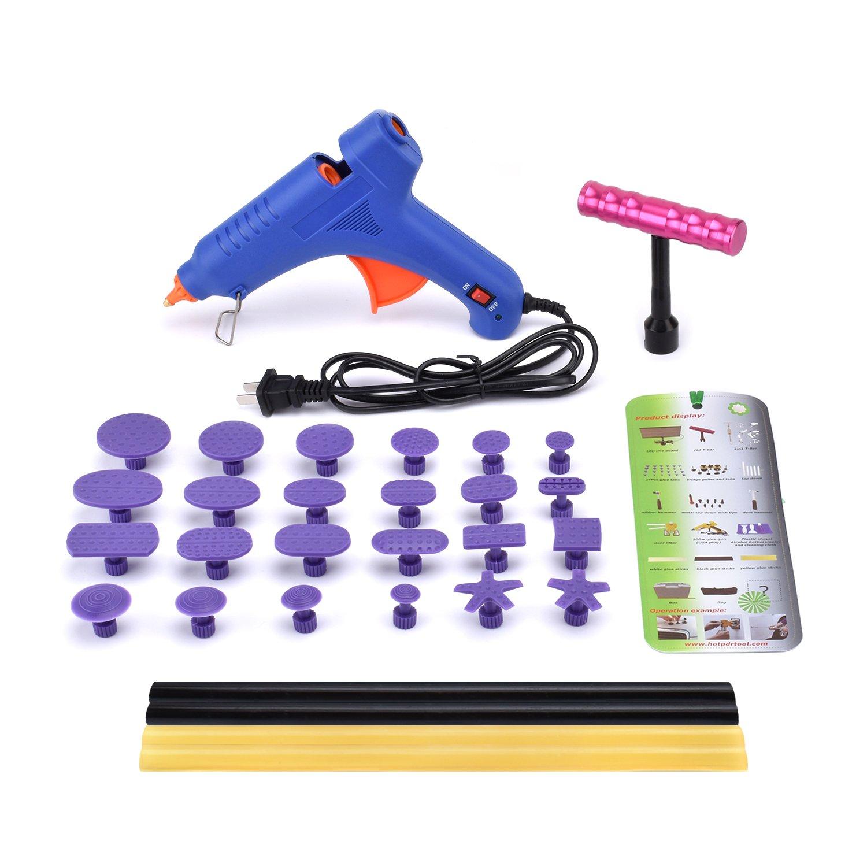 HOTPDR Dent Repair Dent Puller Kit Mini T-Bar Silde Hammer Pdr Tabs Glue Gun and Pdr Glue Sticks Pdr Kit for Car Dent Repair (30 Pcs