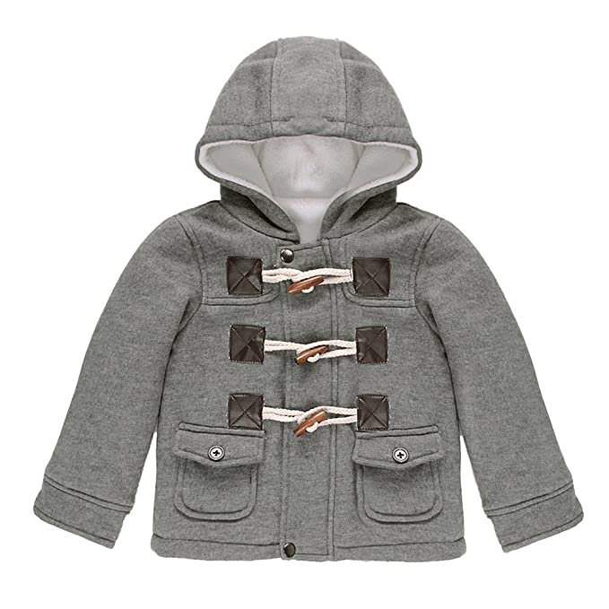 27636024f4693 Hey~Yo Baby Boys Kids Coats Children Jacket Warm Winter Button Hooded  Duffle Coat Jacket Outwear Clothes Snowsuit Outwear  Amazon.co.uk  Clothing