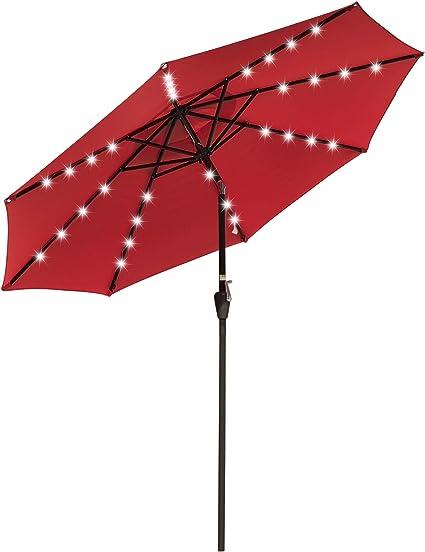 Amazon Com Yescom 9 Outdoor Solar Powered Led Umbrella 8 Ribs W 32 Lights For Patio Garden Deck Crank Tilt Uv30 Red Garden Outdoor